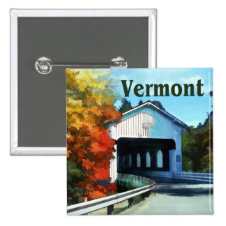 White Covered Bridge  Colorful Autumn Vermont Pins
