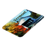White Covered Bridge  Colorful Autumn Vermont Rectangle Magnet