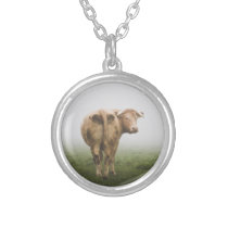 White Cow Bull looking Back in a Foggy Field Silver Plated Necklace