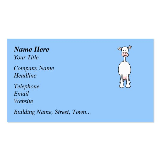 White Cow Cartoon. Blue background. Business Card
