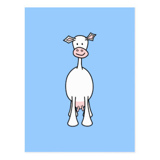 White Cow Cartoon. Blue background. Postcard