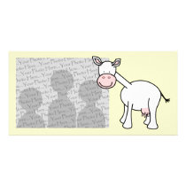 White Cow Cartoon. Card