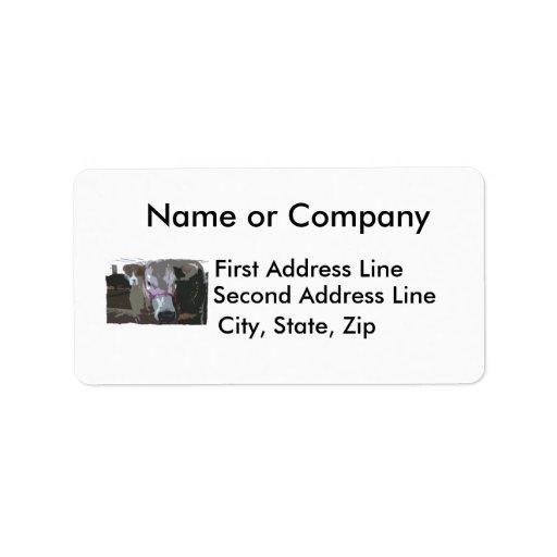 White cow head picture, cartoonized custom address label