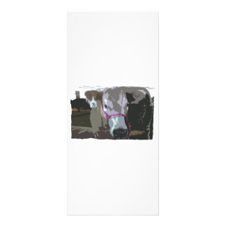 White cow head picture, cartoonized rack card