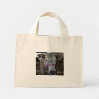 White Cow Head Shot at County Fair Mini Tote Bag