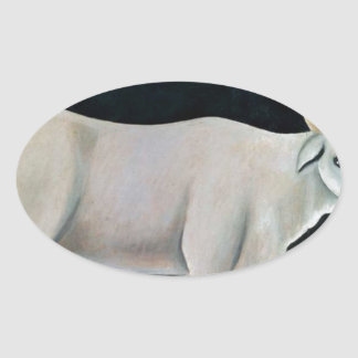 White cow on a black background by Niko Pirosmani Oval Sticker