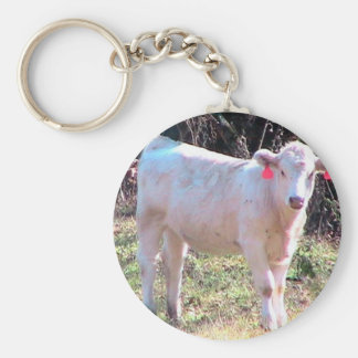 White Cow With Tagged Ears In A Wide Meadow Keychain