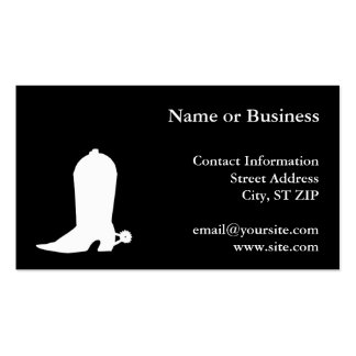 White Cowboy Boot Business Card Template