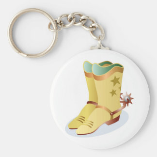 White Cowboy Boots with Riding Spurs Keychain