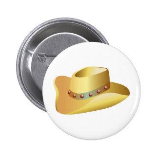 White Cowboy Hat Button