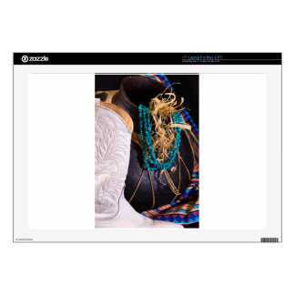 """White Cowgirl Boot Western Cowboy Pot Turquoise 17"""" Laptop Skin"""