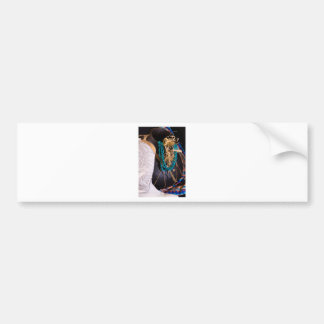 White Cowgirl Boot Western Cowboy Pot Turquoise Bumper Sticker