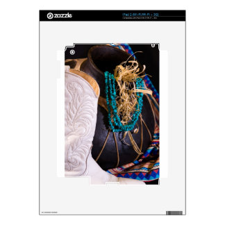 White Cowgirl Boot Western Cowboy Pot Turquoise iPad 2 Decal