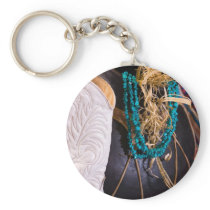 White Cowgirl Boot Western Cowboy Pot Turquoise Keychain