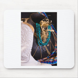 White Cowgirl Boot Western Cowboy Pot Turquoise Mouse Pad