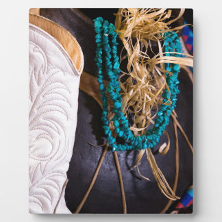 White Cowgirl Boot Western Cowboy Pot Turquoise Plaque