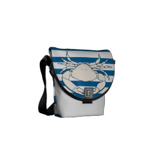 White Crab Blue and White Horizontal Stripe Bag Courier Bags