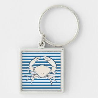 White Crab Blue and White Horizontal Stripe Keychain