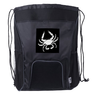 White Crab Drawstring Backpack
