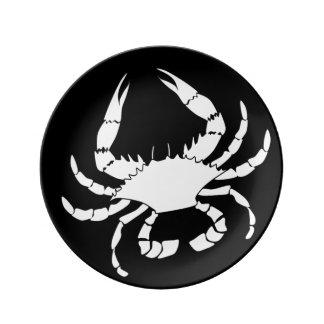 White Crab on Black Plate