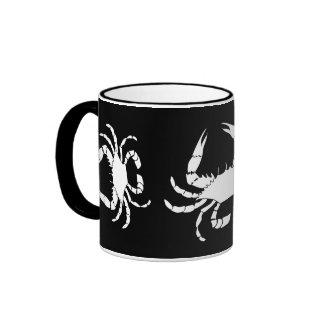White Crab on Black Ringer Mug