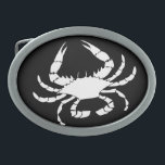 "White Crab Oval Belt Buckle<br><div class=""desc"">White crab shellfish,  crustacean,  in a nautical,  coastal design.</div>"