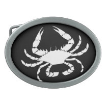 White Crab Oval Belt Buckle