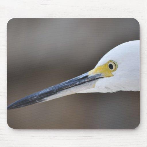 White Crane Bird Mousepad