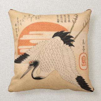 White Crane Flying across the Sun's Disc Throw Pillow
