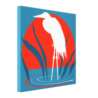 White Crane Wading in front of Red Sun Canvas Print