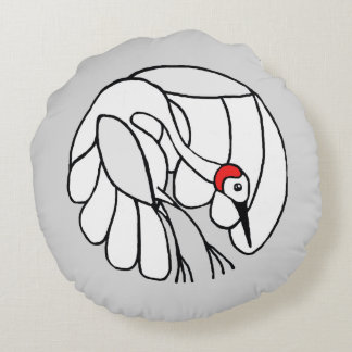 White crane with red spot round pillow