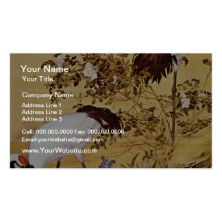 white Cranes and Flowers, Lang Shih-ning flowers Double-Sided Standard Business Cards (Pack Of 100)