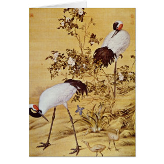 white Cranes and Flowers, Lang Shih-ning flowers Greeting Card