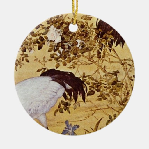 white Cranes and Flowers, Lang Shih-ning flowers Ornament
