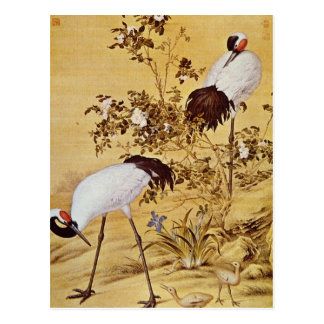 white Cranes and Flowers, Lang Shih-ning flowers Postcard