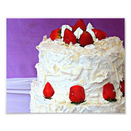 White cream and roses wedding cake photo print