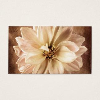 White, Cream, Brown Dahlia Background Customized Business Card