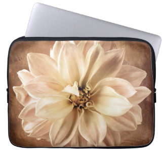 White, Cream, Brown Dahlia Background Customized Computer Sleeve