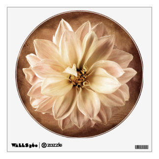 White, Cream, Brown Dahlia Background Customized Wall Sticker