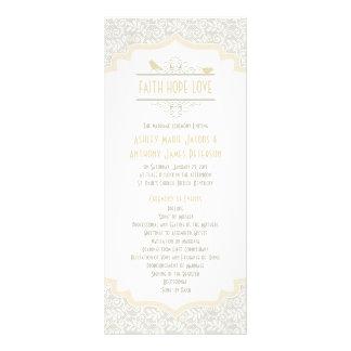 White Cream Champagne Lace Birds Wedding Program