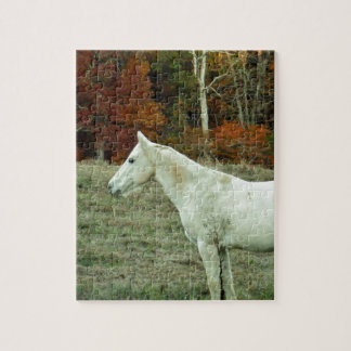 White Cream Horse in an Autumn Field Jigsaw Puzzle
