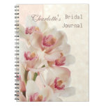 White cream orchids in full bloom Bridal Shower Spiral Note Book