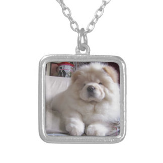 White Cream Puff Chow Chow Puppy Silver Plated Necklace
