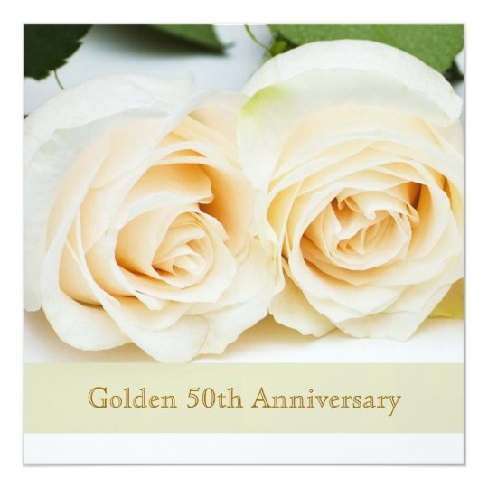 White cream roses, 50th Wedding Anniversary Card