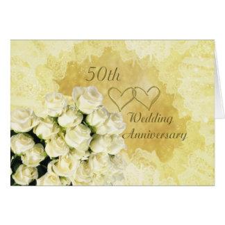 White - cream roses 50th Wedding Anniversary Card