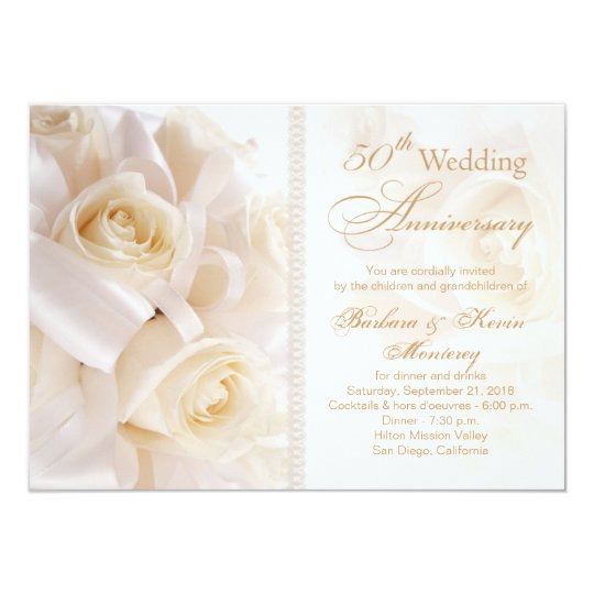 White Cream Roses 50th Wedding Anniversary Invitation