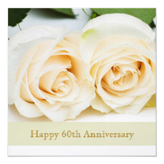 White cream roses, 60th Wedding Anniversary Card