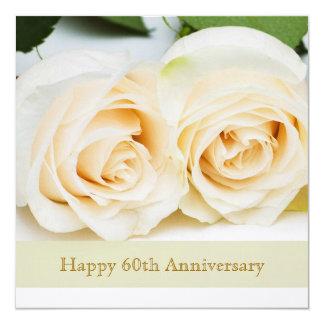 White cream roses, 60th Wedding Anniversary Invitation