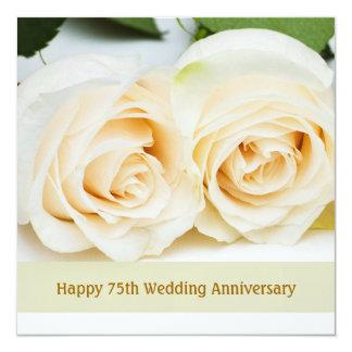White cream roses, 75th Wedding Anniversary Card