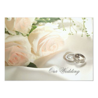White cream roses and rings Wedding Invitation
